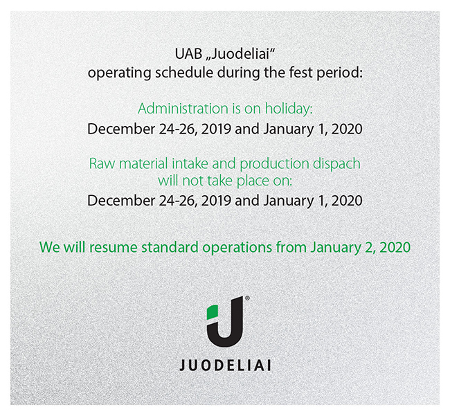 UAB Juodeliai operating schedule during the fest period